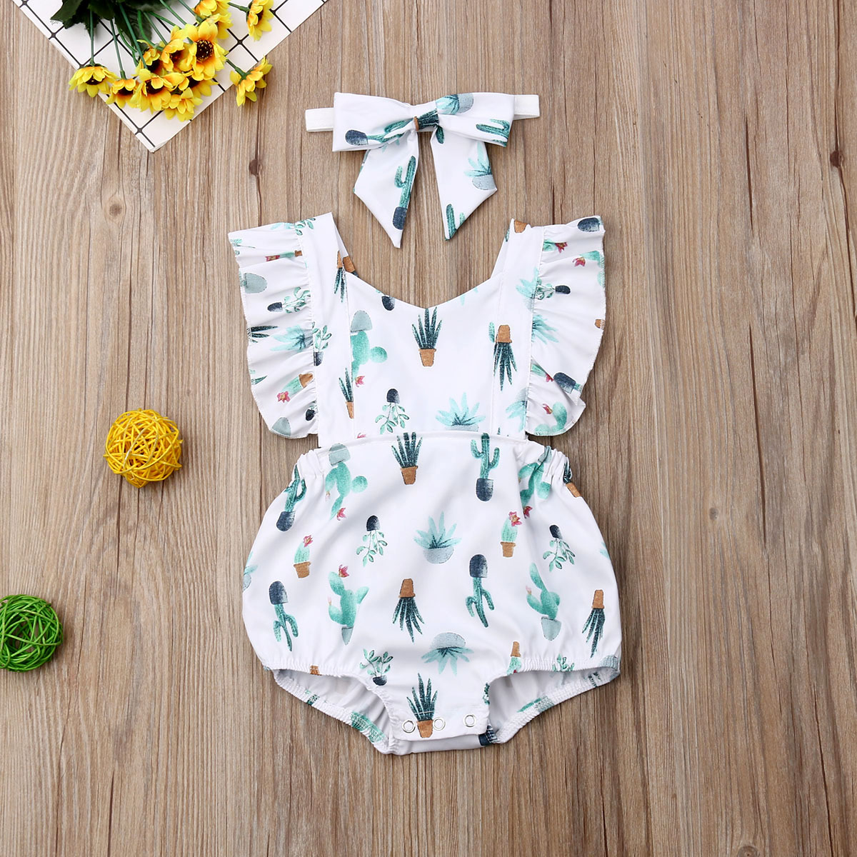 Pudcoco 2020 0-24M Infant Newborn Baby Girls Ruffles Rompers Cactus Print Jumpsuit Summer Costumes Baby Clothes
