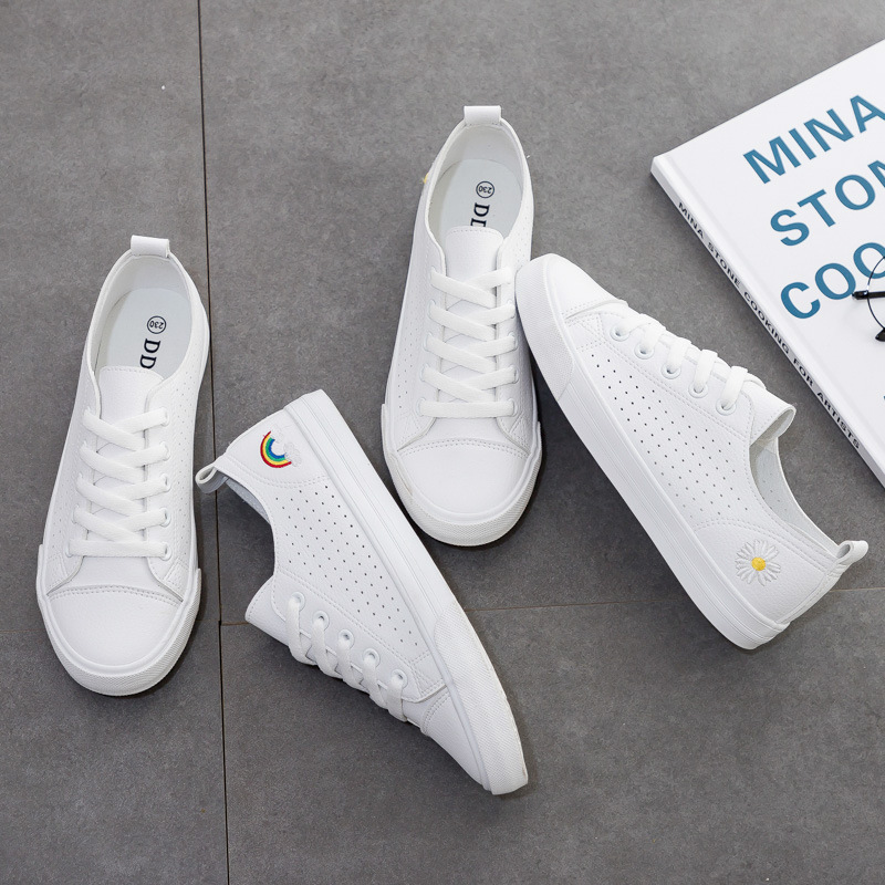 Summer Thin Breathable Daisy White Shoes Women's Shoes 2020 Summer New All-match Mesh Soft Leather Sneakers Rainbow Colorful