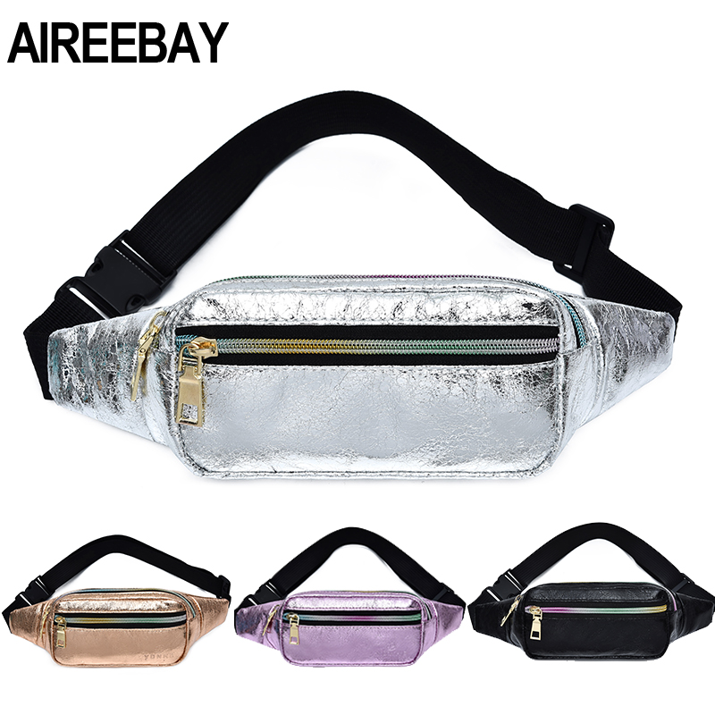 AIREEBAY Vintage Style Women Fanny Pack Holographic PU Leather Waist Belt Bags Messenger Crossbody Bag Chest Bag For Travelling
