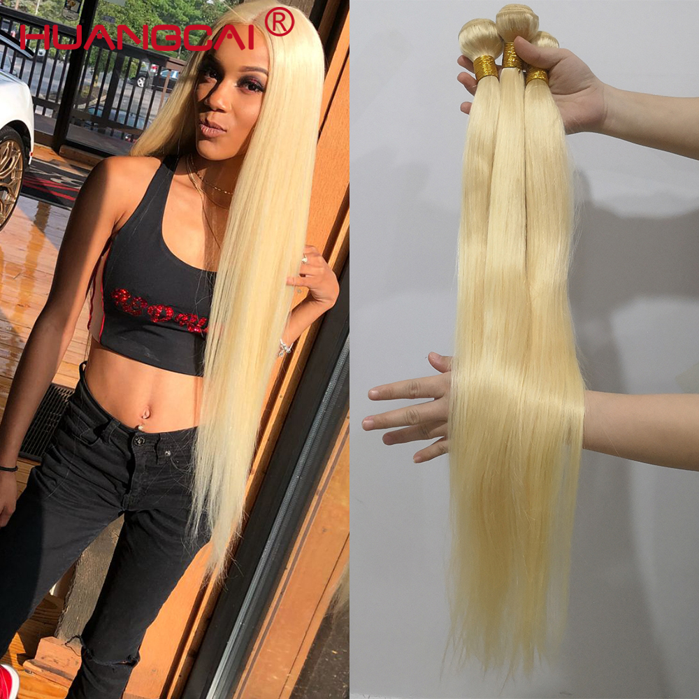 613 Blonde 36 38 40 Inch Brazilian Hair Weave Bundles Straight 100% Human Hair 3/4 Bundles Natural Color Remy Hair Extensions