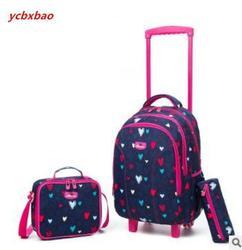 الأطفال حقيبة مدرسية مع عجلات أطفال حقائب تسوق مدرسة المتداول حقيبة الظهر لفتاة بوي السفر عربة الأمتعة على ظهره