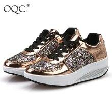 Новинка; спортивная обувь; Женская прогулочная обувь; кроссовки на танкетке; блестящие туфли на платформе со шнуровкой; легкая модная Уличная обувь; D30