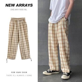 Summer Plaid Pants Men's Fashion Contrast Retro Casual Pants Men Streetwear Wild Hip-hop Loose Drawstring Straight Pants Mens contrast tape side plaid pants