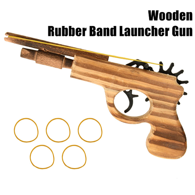 Woodiness Hit Rubber String Pistol Elastic Number 13 Small Double Tube Wooden Grab Short Guns Nostalgia Toys Arts And Crafts