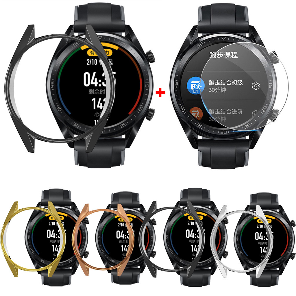 Cover Screen-Protector Huawei Watch Case Protective-Case-Cover Electroplate Gt-46mm Silicone