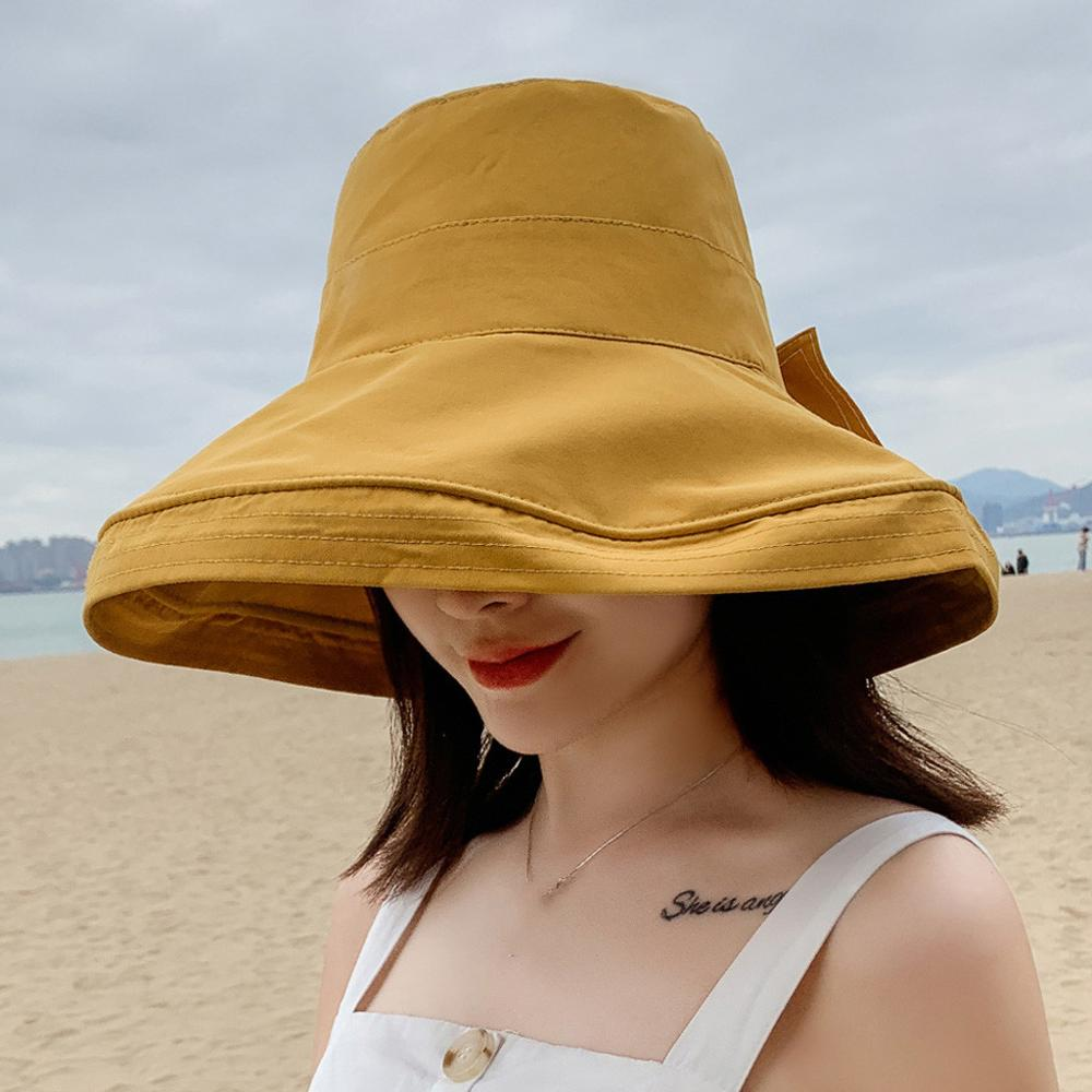 Hat For Women 2020 Anti-UV Wide Brim Cotton Linen Sun  Vacation Summer Panama Foldable Bucket Hat Large Brim Korean Beach Sun
