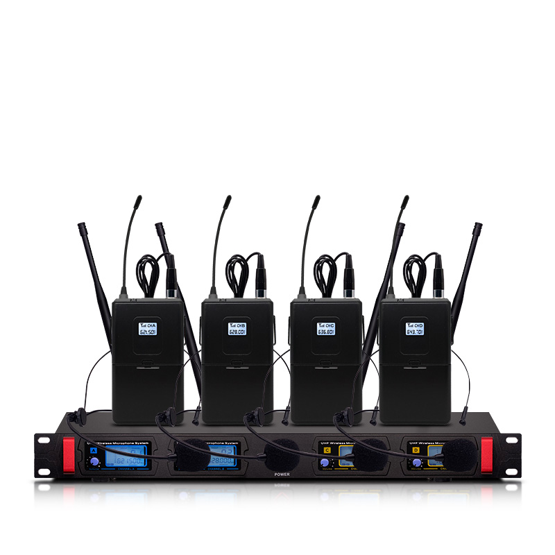 Professional wireless microphone UHF 4 channel fixed frequency dynamic display headset microphone speech stage performance|Microphones| |  - title=
