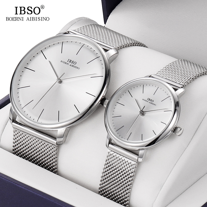 IBSO Brand Couple Quartz Watch Set With Box Simple Wristwatch For Women And Women Valentine's Day Present Birthday Gift