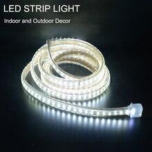 شريط إضاءة LED فائق السطوع 220 فولت IP67 مضاد للماء 120 LEDs/M SMD 3014 مصباح مرن + قابس طاقة لحبل شريط الحديقة في الهواء الطلق