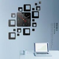 1 قطعة الحديثة كبيرة ثلاثية الأبعاد مرآة سطح ساعة حائط ملصق غرفة مكتب المنزل ديكور ذاتي الصنع