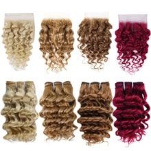 Human-Hair-Bundles Closure Deep-Wave Beauty Brazilian Real with Lace Colored 99J Burgundy