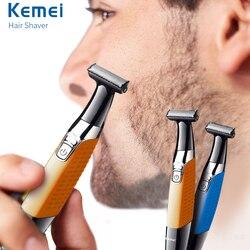 Keimei aparador de barba elétrica aparador de pêlos usb recarregável barbeador para homens depilador profissional uma lâmina barba clipper navalha