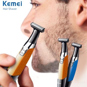 Keimei elektryczny trymer do brody trymer do włosów USB golarka akumulatorowa dla mężczyzn profesjonalny depilator jeden ostrze maszynka do strzyżenia brody Razor tanie i dobre opinie Kemei 18*3 6cm Maszynka do włosów KM-1910