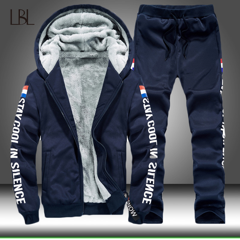 Winter Tracksuits Men Set Thicken Hoodies + Pants Suit Mens Spring Sweatshirt Sportswear Set Male Hoodie Sporting Suits Clothing