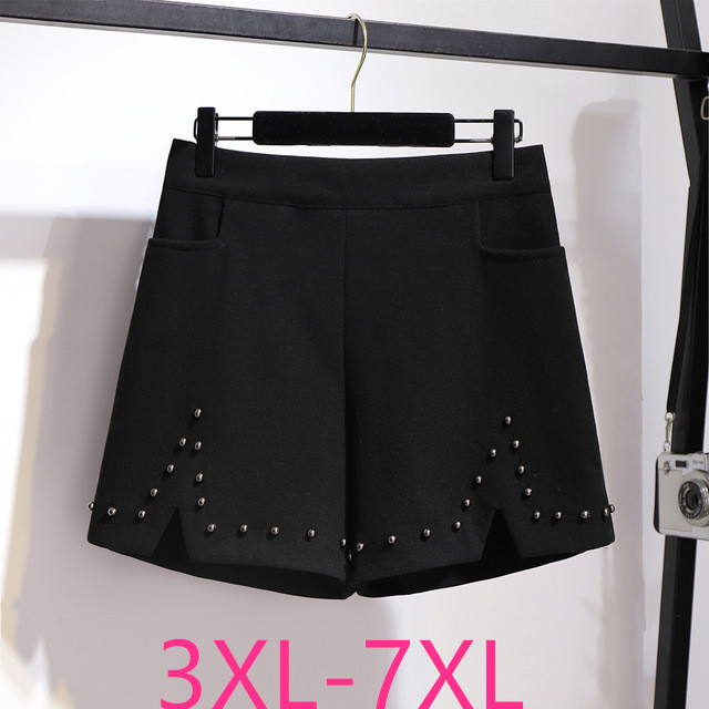 2019 Autumn Winter Plus Size Shorts For Women Large Loose Elastic Waist Wide Leg Thick Work Wear Shorts Black 4XL 5XL 6XL 7XL