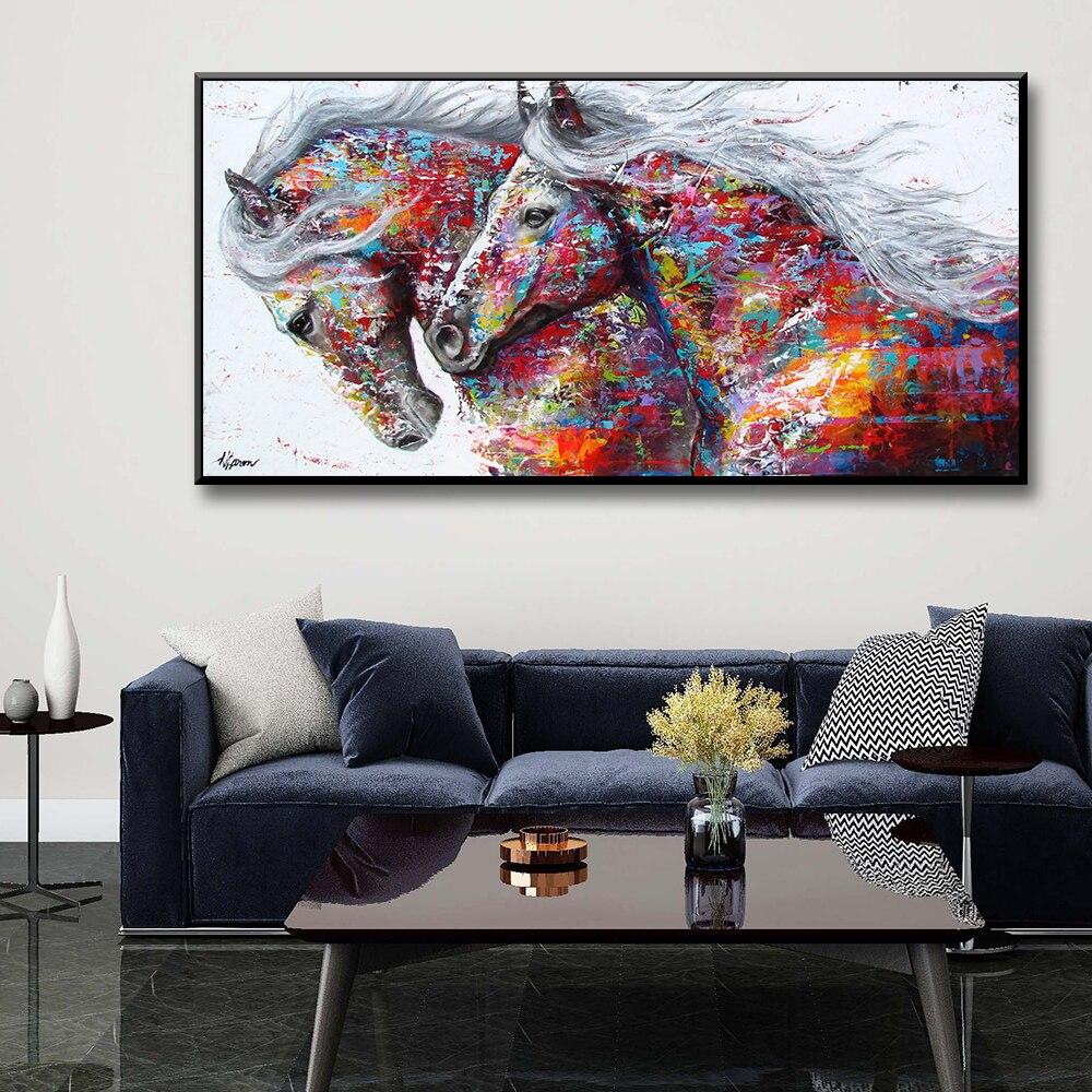 Горячая акварель лошадь картина с рисунком животных плакаты и принты стены искусства картины для гостиной украшения спальни