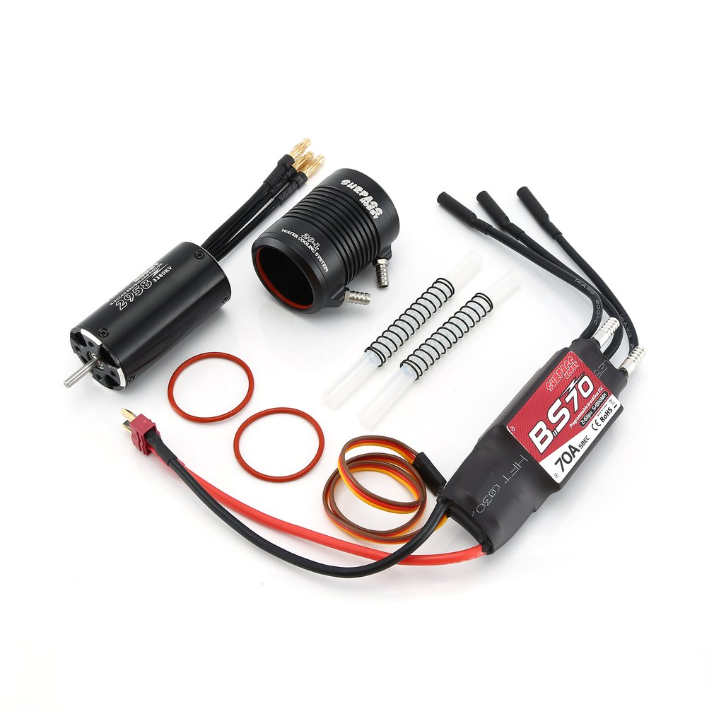 Waterproof 2948 3000KV 3450KV Motor w/ Water Cooling Jacket & 50A Brushless ESC Programming Card For RC Boat RC Accessories