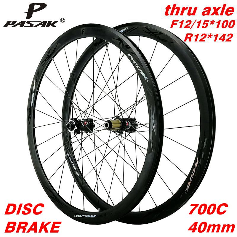 700C disc brake road <font><b>wheel</b></font> road bike wheeles thru axle f12 f15 r12alloy 40mm Clincher <font><b>6</b></font>-bolt lock hub draw the <font><b>spokes</b></font> Aluminum image