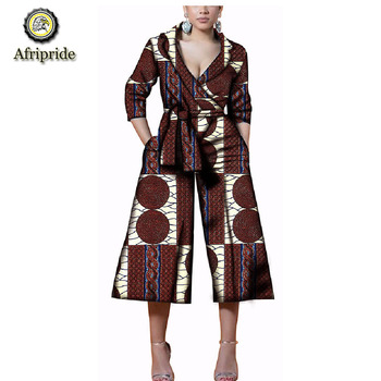 2019 african jumpsuits for women AFRIPRIDE dashiki bazin riche ankara print jumpsuit pure cotton  spring&autumn Wax S1829004