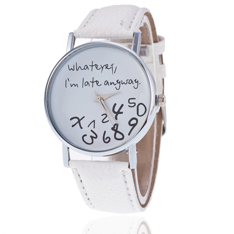 Exquisite Women Quartz Watch Simple Printed Whatever Alloy Dial With PU Wrist Strap LL@17