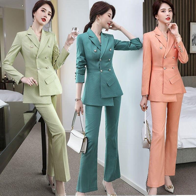 Ladies Fashion Suit for Business Work Wear Blazer Pant 2 pieces Set