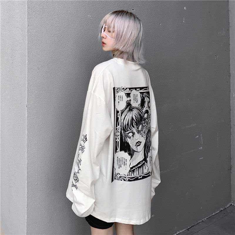 Nicemix Cartoon Horror Grafische T-shirt Vrouwen Karakter Print Losse Punk Japanse T Shirts Trui Top Harajuku Straat Tees