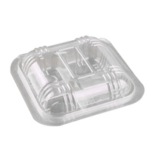 100 шт пластиковые коробки прозрачные одноразовые 4 сетки Чехол-Органайзер контейнеры для фруктов десертов