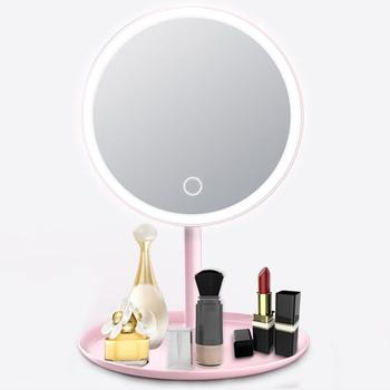 USB Rechargeable LED Adjustable Daylight Cosmetic Makeup Mirror Desktop Lamp Smart Fill Light Beauty Dormitory Make Up Mirror rechargeable motion sensor light mirror led makeup mirror rotation infrared induction makeup mirror battery operated or usb ca