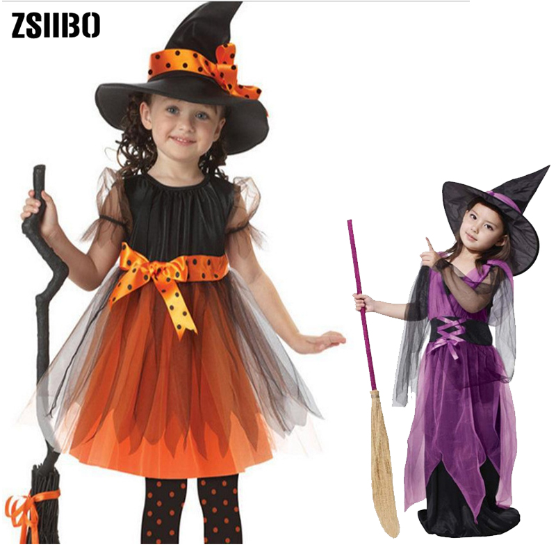 Halloween Costume For Kids 3PCS Fantasy Girl Halloween Costume Coaplay Witch Dress Kids Clothes Hat Baby Girl Decoration Vestido