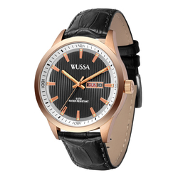 WUSSA double calendar luminous hands mens quartz watch