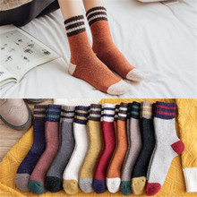 Thick Terry Wool Socks Women For Autumn And Winter With Striped Dotted Yarn Warm Christmas Color Matching