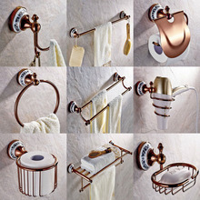 Rose Red Gold Color Brass Ceramic Bathroom Accessories Set Bath Hardware Towel Bar Soap Dish Toilet Paper Holder Robe Hook mm012