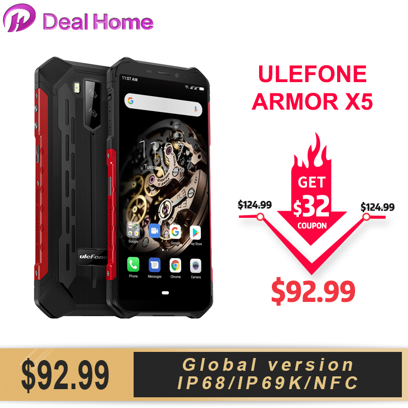 Ulefone Armor X5 IP68 Rugged Smartphone Android 9.0  5.5 Inch 3GB 32GB 5000mAh Cell Phone 4G Dual SIM NFC Mobile Phone Android