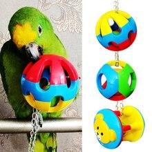3 шт. птица красочные шары с колокольчиком Попугай Висячие жевательные игрушки для домашних животных Попугайчик Cockatiel Conure Lovebird плавник Macaw