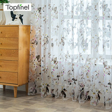 Topfinel Modern Sheer Curtains for Living Room Floral Tulle Window Treatments the Bedroom Kitchen Panel Drapes and Blinds