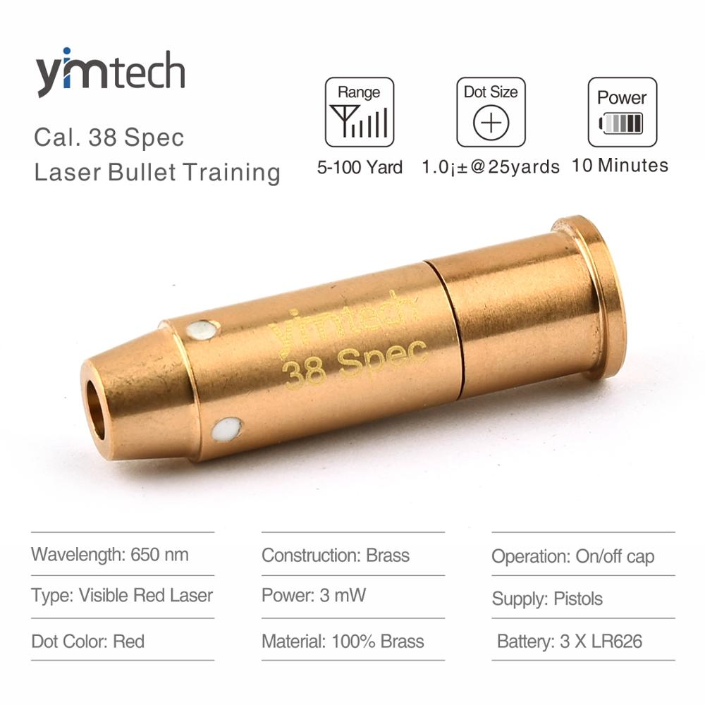 38Spec Training Bullet Laser Sight Scope Hunting Rifle Scope 100% Brass and Gold-Plated Red Laser Sight Cartridge Trainer Bullet