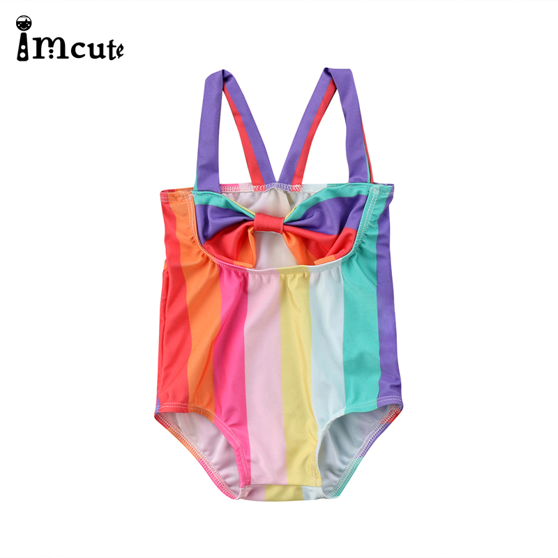 ImCute 2020 Girls Clothes Rainbow Toddler Kids Baby Girl Swimsuit Bikini Baby Girls Swimwear Bathing Suit Beachwear 0-5 Years