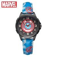 Marvel Avengers 캡틴 아메리카 스파이더 남자 어린이 석영 방수 시계 소년 소프트 PU 밴드 아이 선물 학생 시계 디즈니 어린이