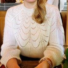 Paulin-Jersey de punto de lana Mohair para mujer, suéter cálido de manga inflada, elegante, Vintage, otoño e invierno, 2020