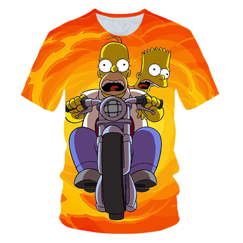 New Men Women Obesity T-shirt Simpson Print 3D T Shirt Harajuku Cartoon Funny Simpsons T-shirt O-neck Short-sleeve Casual Tshirt