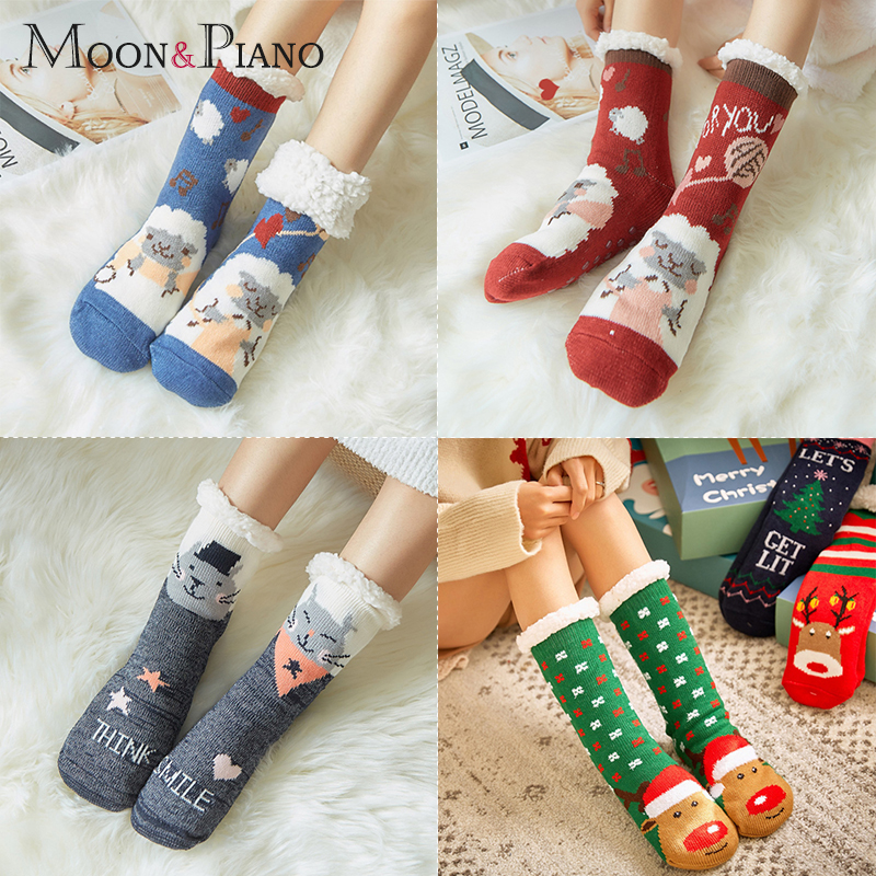 Fashion Winter Women Thicken Thermal Cartoon Cat Elk Sheep Style Snow Socks Home Warm Boots Floor Sleeping Ankle Sock For Ladies