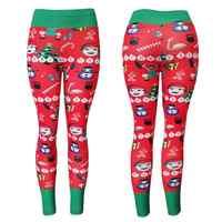 High Quality Women Sports Leggings High Waist Yoga Pants New Stripe Printing Gym Fitness Elastic Stripe Printing Christmas Gifts
