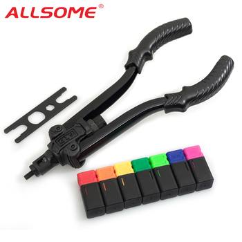 "ALLSOME 13"" Rivet Nut Tool Professional Rivet Setter Kit with 7 Metric Mandrels M3 M4 M5 M6 M8 M10 M12 with Case"