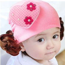 Cap Hat-Accessories with Hair-Love Heart Toddlers Infant Baby Headwear Wig