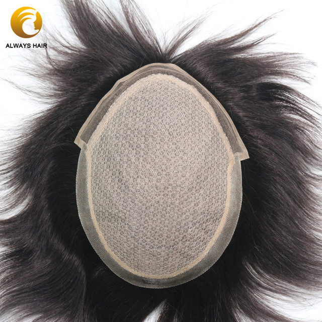 Injeção de renda homens toupee base seda superior em linha reta cor natural 100% liso remy indiano cabelo humano sistema substituição