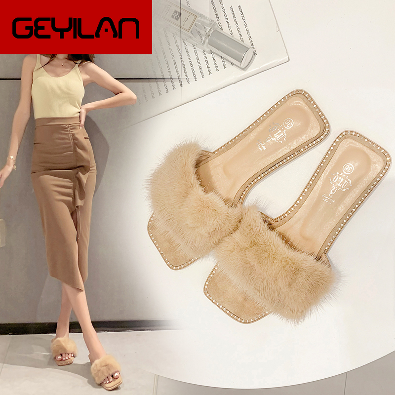 2020 newest design female Nude sandals all-match shoes Fur slippers women Mink hair flat heel Summer Beach shoes crystal mules