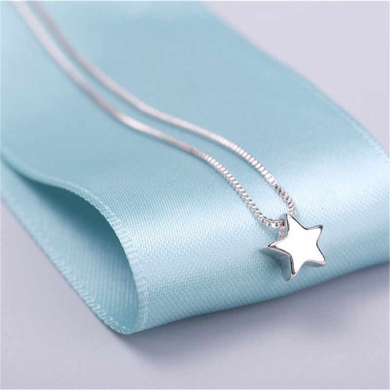 Fashion Star Shape Necklaces for Women Silver 925 Simple Fashion Pendant  Charms Pendant Necklace Girl Jewelry Gift