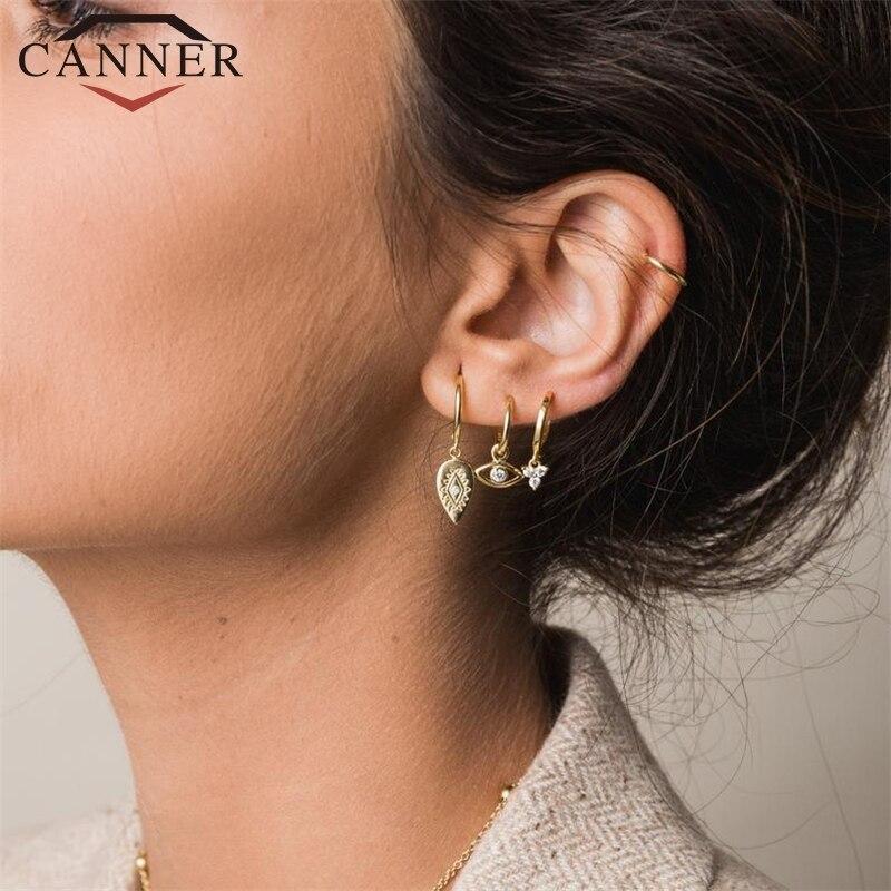 CANNER small Luxury Hoop Earrings 925 Sterling Silver Zircon Earrings Round Silver Gold Color Eye Hoop Earings Fine Jewelry