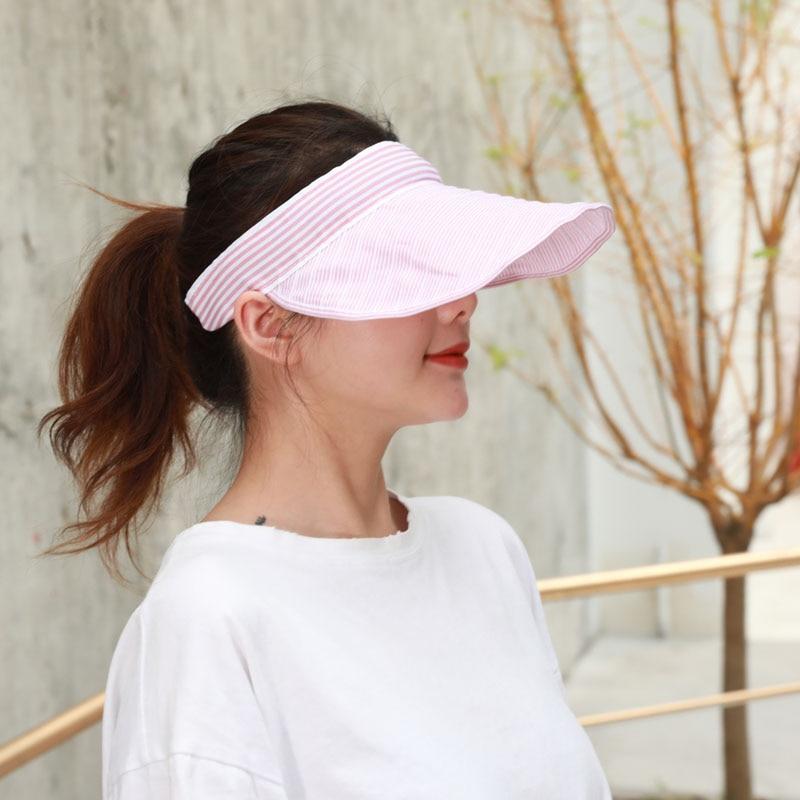 Women Summer Foldable Baseball Cap Adjustable Wide Brim Sunhat with Empty Top SER88