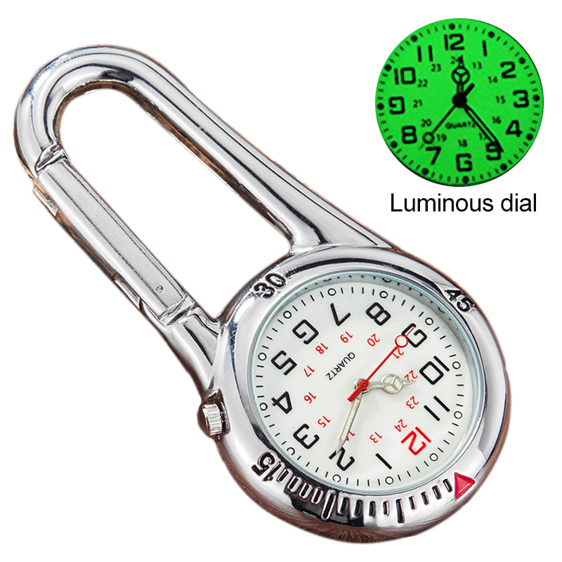 Clip-On Carabiner Pocket Watch Nurse Watch Multi-function Compass Bottle Opener For Doctors Chefs Luminous Outdoor Sport Clock